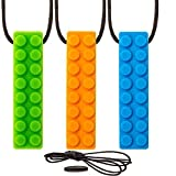 Sensory Chew Necklace Chewing Tool–(3 Pack with Extra Cord and Clasp) - Sensory Integration, Autism, ADHD–For Boys & Girls–Textured Silicone Teething and Biting (Orange Green & Blue)