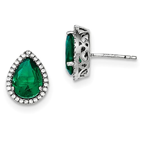 ICE CARATS 925 Sterling Silver Simulated Green Emerald Cubic Zirconia Cz Post Stud Ball Button Earrings Birthstone May Set S Pear Fine Jewelry Gift Set For Women Heart