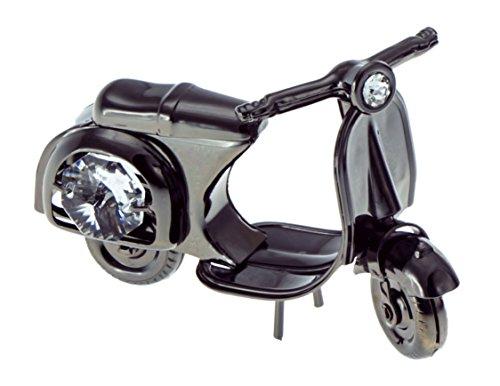Motor Scooter Black Plated Metal Figurine with Swarovski Crystals