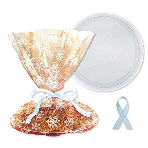 Homemade Holiday Cookie Tray Gift Wrap Packaging Kit – Cellophane, Ribbon, Tray (Snowflake)