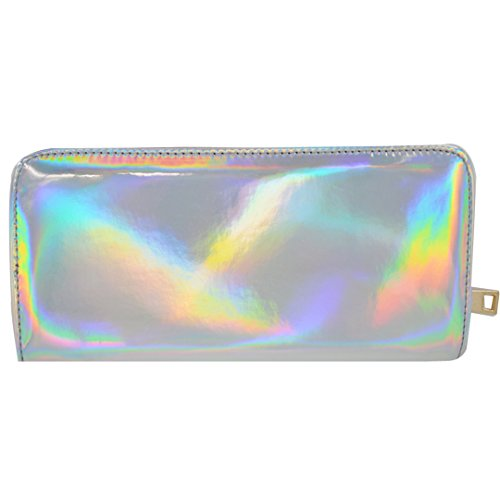 Glitter Card Millya Bag Women Ladies Cluth Around Handbag Holder Pouch for Long PU Purse Holographic Zip sliver Leather qqgpnwxRP