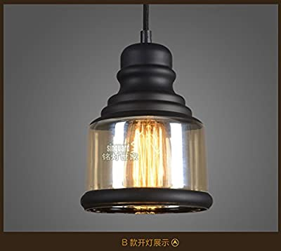 Ruanpu Industrial Retro Amber Adjustable Glass Style Pendant Chandelier Ceiling light lamp with Black Fnish