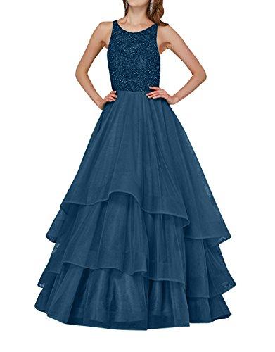 La Dunkel Linie Pailletten Kleider A mia Langes Jugendweihe Abendkleider Partykleider Prinzess Blau Tanzenkleider Ballkleider mit Brau rwrq64HxB