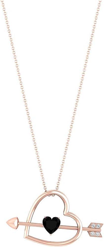 Colgante de corazón con flecha, piedras preciosas de 0,88 quilates, diamante HI-SI de 6 mm, collar de diamantes negros creados en laboratorio, colgante de amor con solitario de oro de 10 quilates