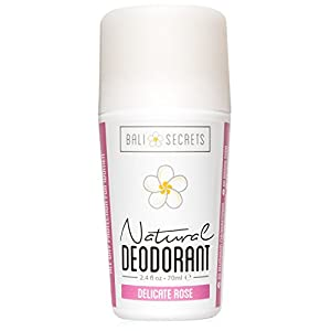 Bali Secrets Natural Deodorant – Organic & Vegan – For Women & Men – All Day Fresh – Strong & Reliable Protection – 2.4 fl.oz/70ml [Scent: Delicate Rose]