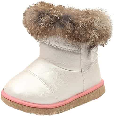 Toddler//Little Kid VECJUNIA Kids Thicken Snow Ankle Boots with Rhinestones Pull On Winter Shoes