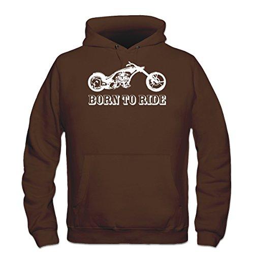 Brown Custom Hooded Sweatshirt (Shirtcity Born To Ride Custom Bike Hoodie XL Brown)