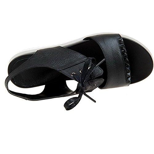 AalarDom Mujeres Material Suave Puntera Abierta Plataforma Cordones Sólido Sandalia Negro