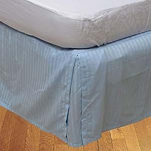 Brightlinen Light Blue Double (135 X 190 Cm) Box Pleated Bedskirt Stripe (drop Length: 26 Cms) 1pcs