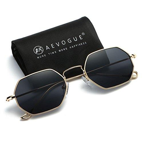 AEVOGUE Unisex Sunglasses Small Metal Frame Asymmetry Temple AE0520 (Gold&Black, 56)
