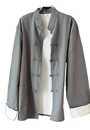 ZooBoo Mens Martial Arts Kung Fu Jacket Tang Suit (XL, Light Gray) ()
