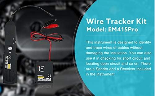 41FI%2BSKbwdL. AC Automotive Short Open Repair Tester Tool,EM415PRO Automotive Cable Wire Tracker Short & Open Finder Tester Repair Tool Tester Car Tracer Diagnose Tone Line Finder DC 6-42V    HOW TO USE THE PROBE? The probe of the Receiver is built of coiled steel and may be bent as needed, in order to reach wires in congested or difficult areas. Depending on the circuit characteristic and sensitivity settings, the probe will pick up the signal from the wire in a range of positions. However, for the best possible range the Receiver's probe tip (black cap) should be positioned perpendicular to the wire being traced and either above or below it.