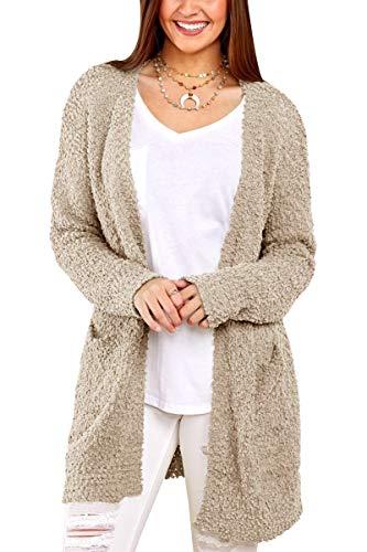 Inorin Womens Long Oversized Open Front Cardigan Sweater Fall Fuzzy Wrap Coat Sherpa Jacket with Pockets Khaki - Wrap Cardigan Oversized