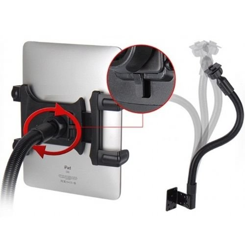 Robust Seat Bolt Tablet Car Mount Vehicle Swivel Cradle Holder for Apple ipad Mini / ipad Mini 2 / ipad 2 / ipad 3 / ipad 4 and ipad Air w/ Anti-Vibration Goose Neck Mechanism (use with or without case)