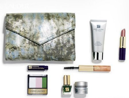 Estee Lauder 7 piece Gift Travel Set with Faux Snakeskin Makeup Bag