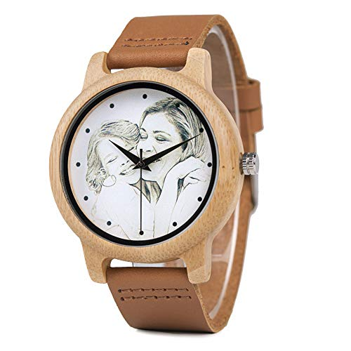 (Personalized Customized Wooden Watch for Men Photo Print On Watch Face and Box Engraving for Personalized Gift (D))