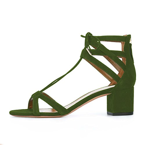 YDN Women Classic Strappy Low Block Heel Sandals Open Toe Cross Straps Dress Shoes with Lace-up Olive low shipping fee cheap cheap online discount original sale enjoy cheap sale Manchester g9YXOWH