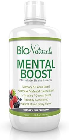 Bio Naturals Mental Boost Liquid Nootropic Supplement - Enhance Brain Performance with Improved Memory, Alertness, Clarity & Focus - Contains Ginkgo Biloba, Huperzine-A, DMAE - 32 fl oz