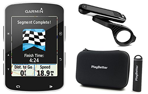 Garmin Edge 520 with PlayBetter Portable USB Charger, Hard Carrying Case, Bike Mounts & USB Cable POWER BUNDLE | High-Res Color Display | GPS Bike Computer by PlayBetter