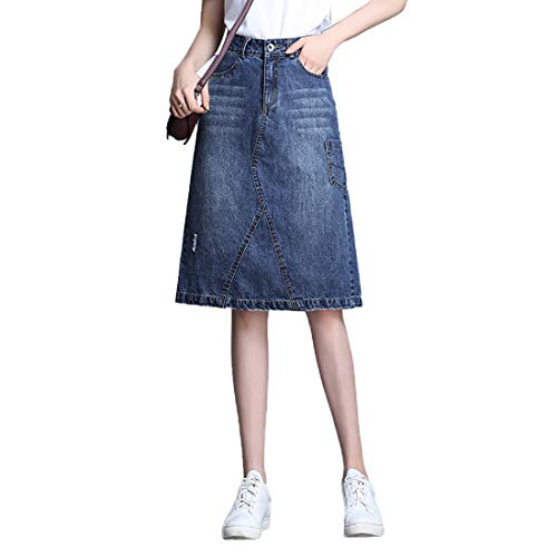 - Nantersan Womens Button Front Midi Denim Jean Skirts High Waist A-Line Flare Pleated Chic Skirt