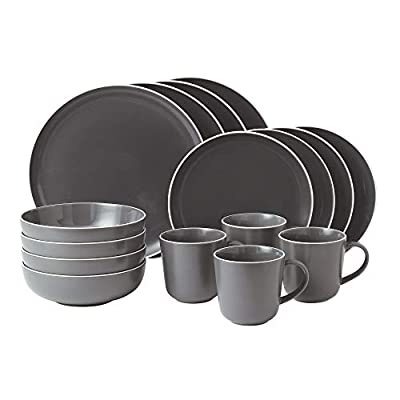 Gordon Ramsay 16-Piece Bread Street Dinnerware Set, Slate - Stoneware China Dishwasher Safe Microwave Safe - kitchen-tabletop, kitchen-dining-room, dinnerware-sets - 41FI Zeu6eL. SS400  -