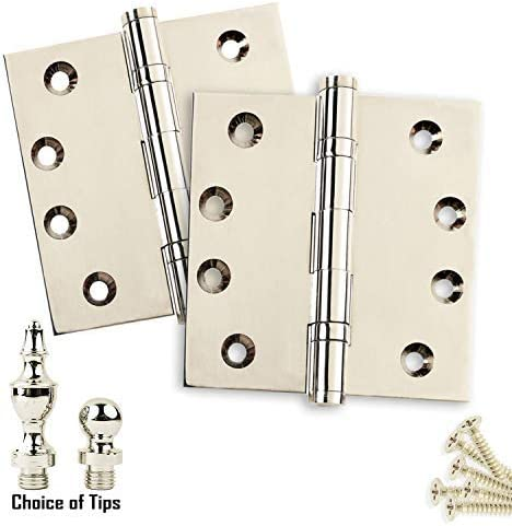 Architectural Grade US14 Stainless Steel Pin Ball//Urn//Button Tips Included 2 Door Hinges 4 x 4 Extruded Solid Brass Ball Bearing Hinge Heavy Duty Polished Nickel