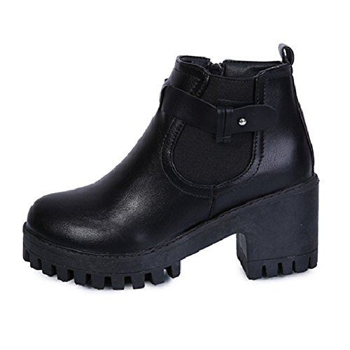 CYBLING Fashion Womens Square Heel Booties for Ladies Dress Short Walking Ankle Boots Black TNOsO