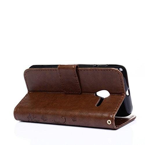 Trumpshop Smartphone Carcasa Funda protección para ALCATEL OneTouch Pixi 3 (4.5) 4.5 + Verde + PU Cuero Caja Protector Billetera con la Ranura la Tarjeta Choque Absorción Marrón