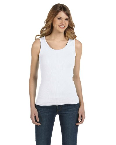 Anvil Ladies' 1x1 Baby Rib Tank, Large, WHITE