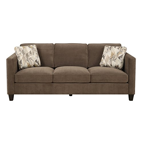 Emerald Home Focus Chocolate Sofa, with Pillows, Easy Clean Microfiber Upholstery, Nailhead Trim, And Straight Arms (Trim Microfiber With Nailhead Sofas)