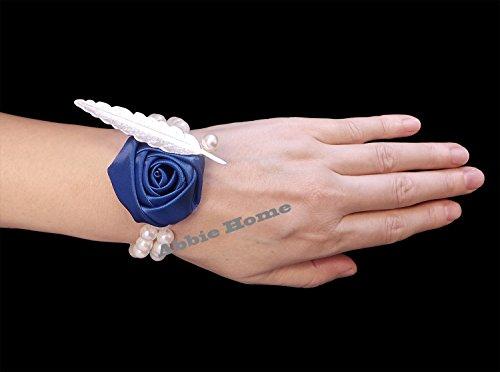 Abbie Home Bridesmaid Wedding Wrist Corsage Party Prom Girls Hand Rose Flower Decor Pack of 2/4/6 (1 pc, Blue) Abbie Six Light