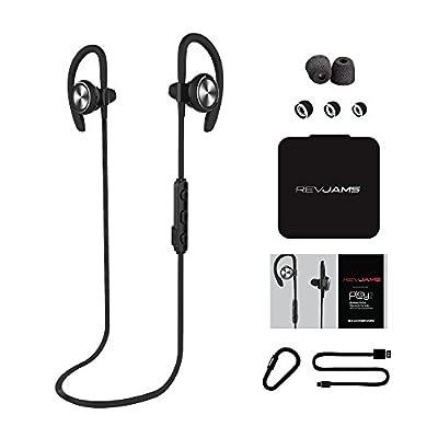 RevJams Play 2 Premium Bluetooth Wireless Ear Buds - Sweat and Water-Resistant, Sport Ear Hook Design with Comply Memory Foam Sport Ear Tips - Dark Grey