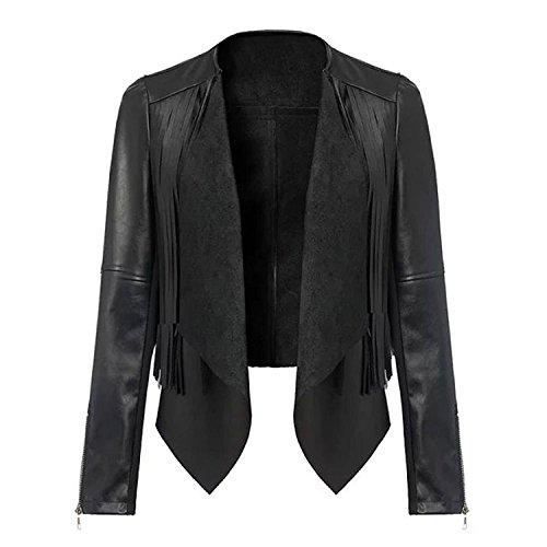 KDHJJOLY Comfortable Women's Faux Leather Black Rock Casual Moto Jacket Effective - Rock Little Mall In