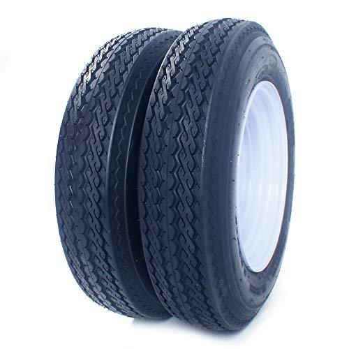 2PCS Trailer Tires On Rims 5.30-12 530-12 5.30 X 12 5 Hole Wheel White Spoke Load Range B 5Lug P811