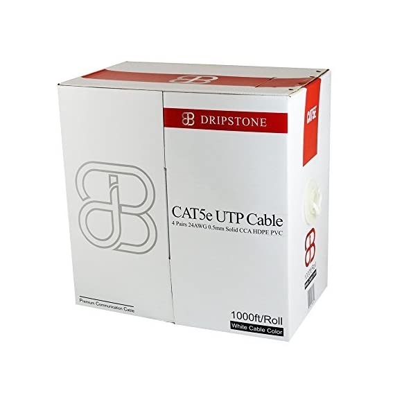 Dripstone CAT5e 4/UTP Ethernet LAN Cable 24AWG, Black (600025) 2 CAT5e 4/UTP Unshielded Twisted Pair HDPE PVC 24AWG CCA Conductor (Copper Clad Aluminum) Voice and Data communications