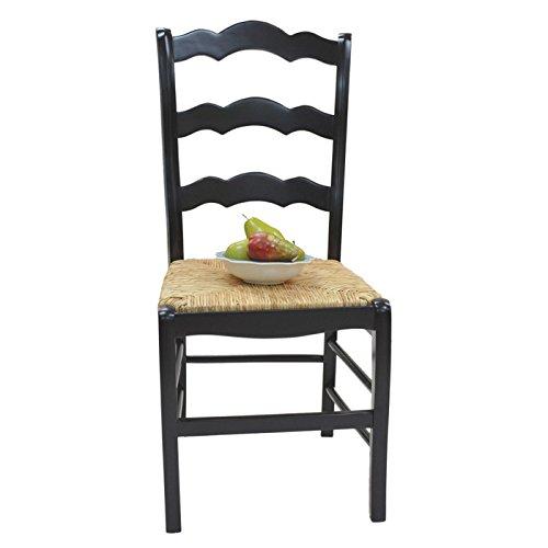 Carolina Cottage Ladder Back Chair in Antique Black Finish