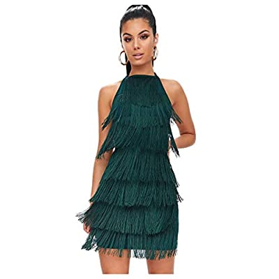 L'vow Women' Sexy Open Back Skirt Gatsby Cocktail Party Fringed Flapper Costume Dress