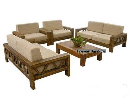 Sarswati Furniture Sheesham Sofa Set For Living Room Wood Furniture Wooden Sofa Set 3 1 1 5 Seater Sofa Brown Finish Amazon In Home Kitchen