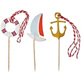 Egg Cup Foam Mattress Ahoy Matey Cupcake Topper Food Fruit Picks Nautical Theme Party Supplies 48 Toppers in 4 Styles