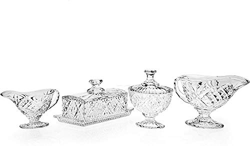 Crystal Breakfast Set - Butter Dish, Creamer, Sugar, Bowl
