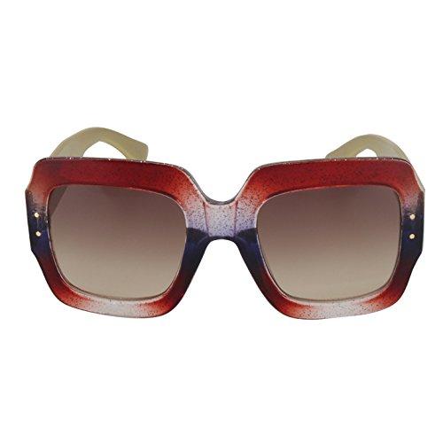ROYAL GIRL Oversized Square Sunglasses Women Multi Tinted Frame Fashion Designer Trendy - Frame Fashion