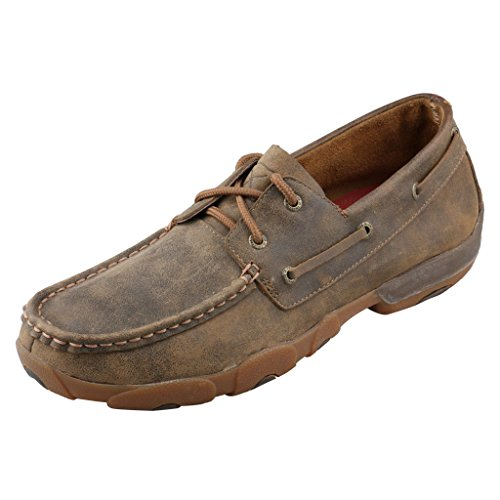 Twisted X Men's Leather Lace-Up Rubber Sole Moc Toe Driving Moccasins - Bomber Brown, 13