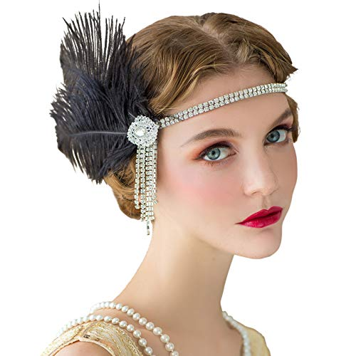 SWEETV Flapper Headbands Womens 1920s Headpiece Great Gatsby Inspired Feather Headband Cocktail Party Rhinestone Hair Accessories for Women, Black ()