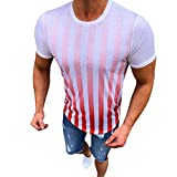 Long Sleeve Top,Men's Summer New Stripe Printed Short Sleeves Fashionable Comfortable Blouse Top,Men's Novelty Clothing,Red,M
