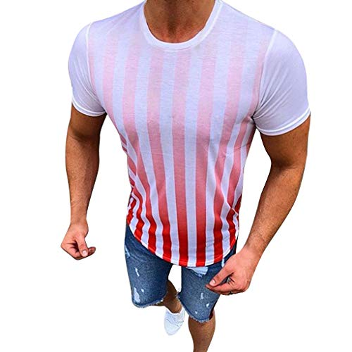 YAYUMI Men's Summer New Stripe Printed Short Sleeves Fashionable Comfortable Blouse Top Red ()