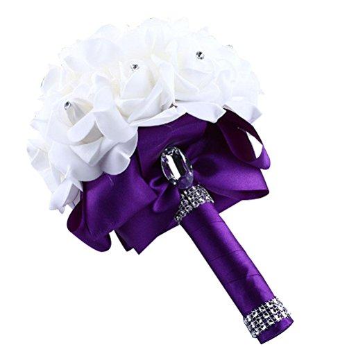 Artificial Silk Wedding Flowers,Elaco Crystal Roses Pearl Bridesmaid Bouquet Bridal (Purple) (Purple Wedding Flowers)