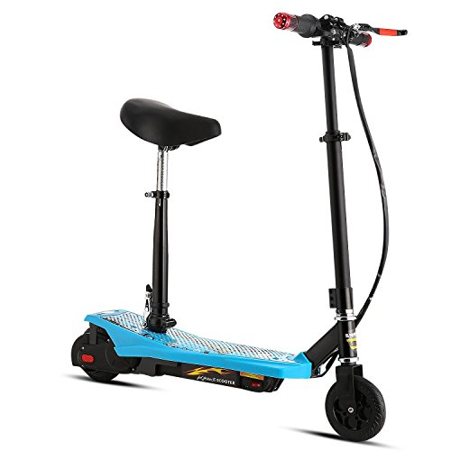 Fashine Electric Scooter with ABS, Retractable Height Adjustable Thick Padded Seat and Removable Basket (US STOCK) (Blue) (Scooters Electric Cheapest)