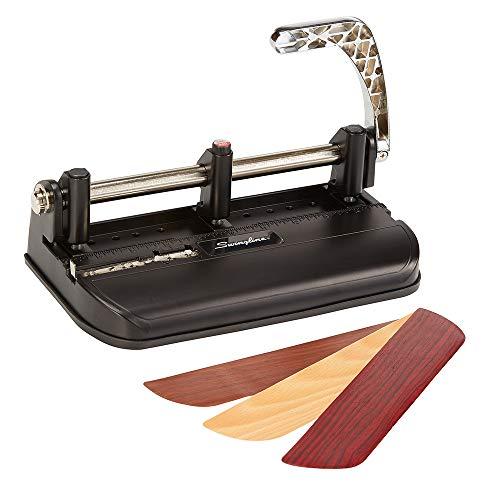 Price comparison product image Swingline 2-7 Hole Punch,  Adjustable,  Heavy Duty Hole Puncher,  40 Sheet Punch Capacity,  Chrome / Black / Woodgrain (74400)
