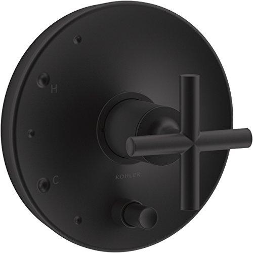 KOHLER T14501-3-BL Purist Rite-Temp Pressure-Balancing Valve Trim with Cross Handles, Matte Black