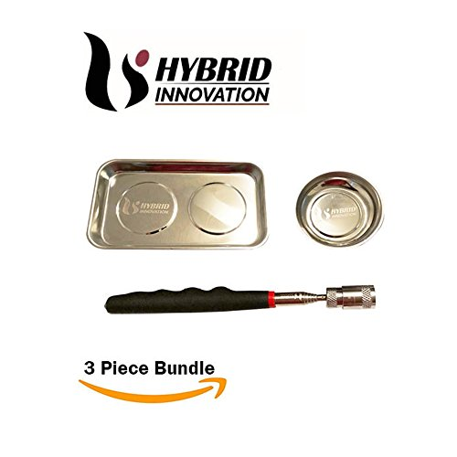 Magnetic Parts Tray/Telescopic Magnet With LED Lighting - (Stainless Steel -3 Piece Bundle) Telescopic LED Pickup Magnet tool, 4 Inch Magnetic Bowl and 5.5 x 9 Inch Rectangle Tray by Hybrid Innovation